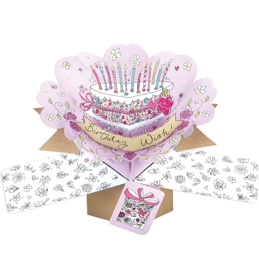 Karte Geburtstag Birthday Wishes Pop-Up 3D mit Glitzer