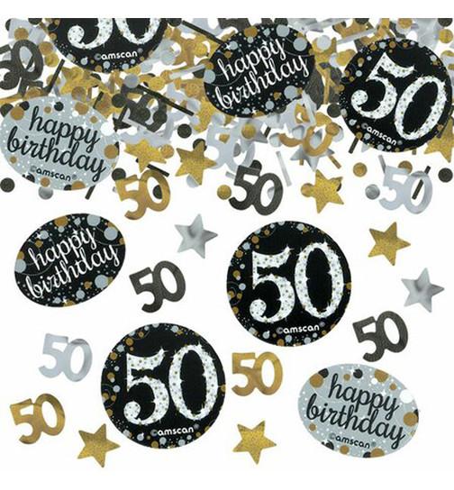Konfetti 50 Jahre Schwarz Gold Geburtstag Dekoration Party Tischdeko