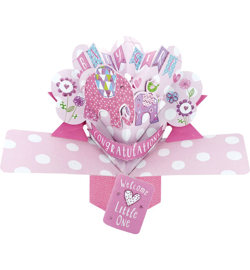 3D Pop-Up Karte Geburt - Baby Girl