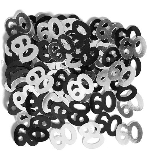 deko konfetti 60 geburtstag in silber schwarz 1 cm. Black Bedroom Furniture Sets. Home Design Ideas